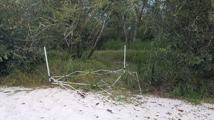 Discarded tent frame