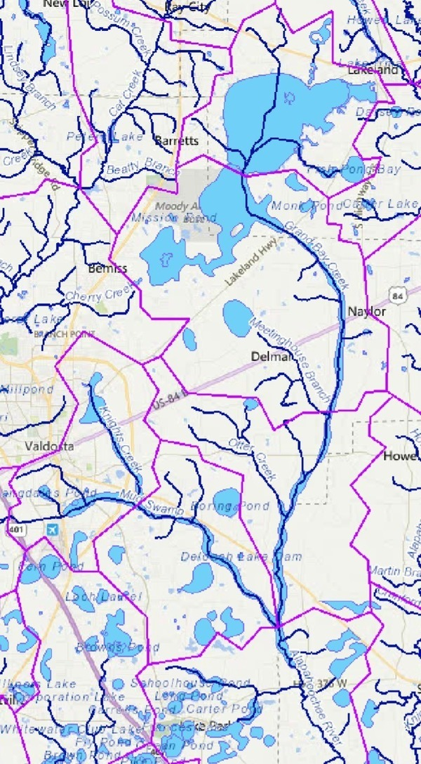 Grand Bay Creek and Mud Swamp Creek for Alapahoochee River