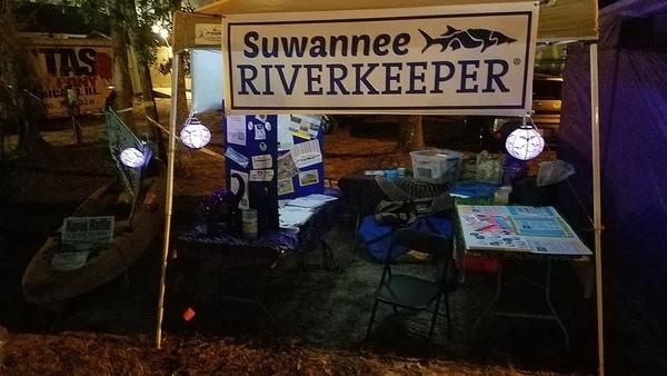 Raffle kayak (thanks Malibu Kayaks) and booth, Evening
