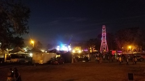 Ferris wheel and Meadow Stage, Lake Ave. at night