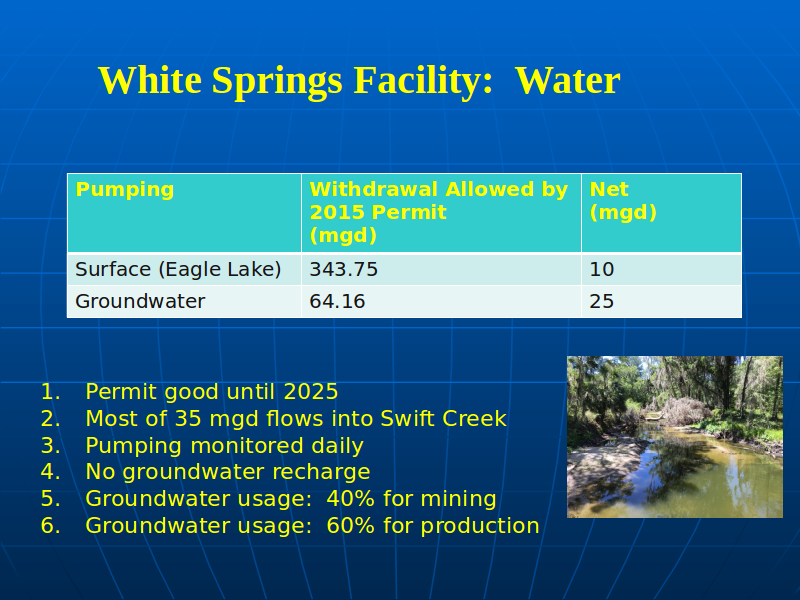 White Springs Facility: Water, in PotashCorp Field Trip Summary, by David Wilson 2017-04-13