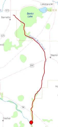 226x490 Grand Bay Creek, Barretts, Naylor, Lowndes County, Banks Lake, Lanier County, GA, in Streamer, by John S. Quarterman, for WWALS.net, 4 July 2014