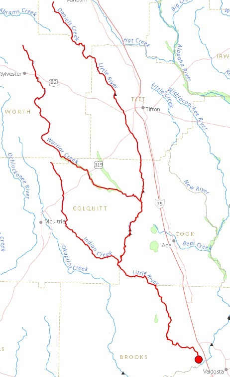 462x756 Little River, Adel, Cook County, Valdosta, Lowndes County, GA, FL, in Streamer, by John S. Quarterman, for WWALS.net, 4 July 2014