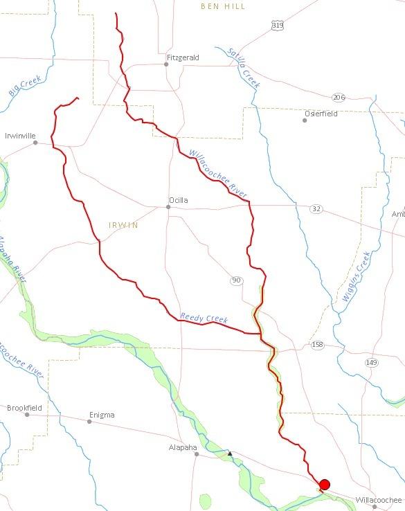 585x738 Willacoochee River, Fitzgerald, Ben Hill County, Ocilla, Irwin County, Berrien County, GA, in Streamer, by John S. Quarterman, for WWALS.net, 4 July 2014