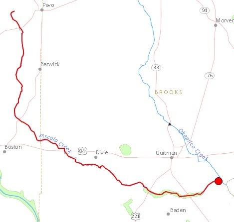 469x446 Piscola Creek, Quitman, Dixie, Brooks County, Pavo, Barwick, Boston, Thomas County, GA, in Streamer, by John S. Quarterman, for WWALS.net, 4 July 2014