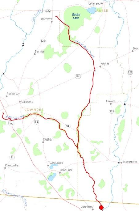 451x683 Alapahoochee River, Lowndes County, GA, Jennings, Hamilton County, FL, in Streamer, by John S. Quarterman, for WWALS.net, 4 July 2014
