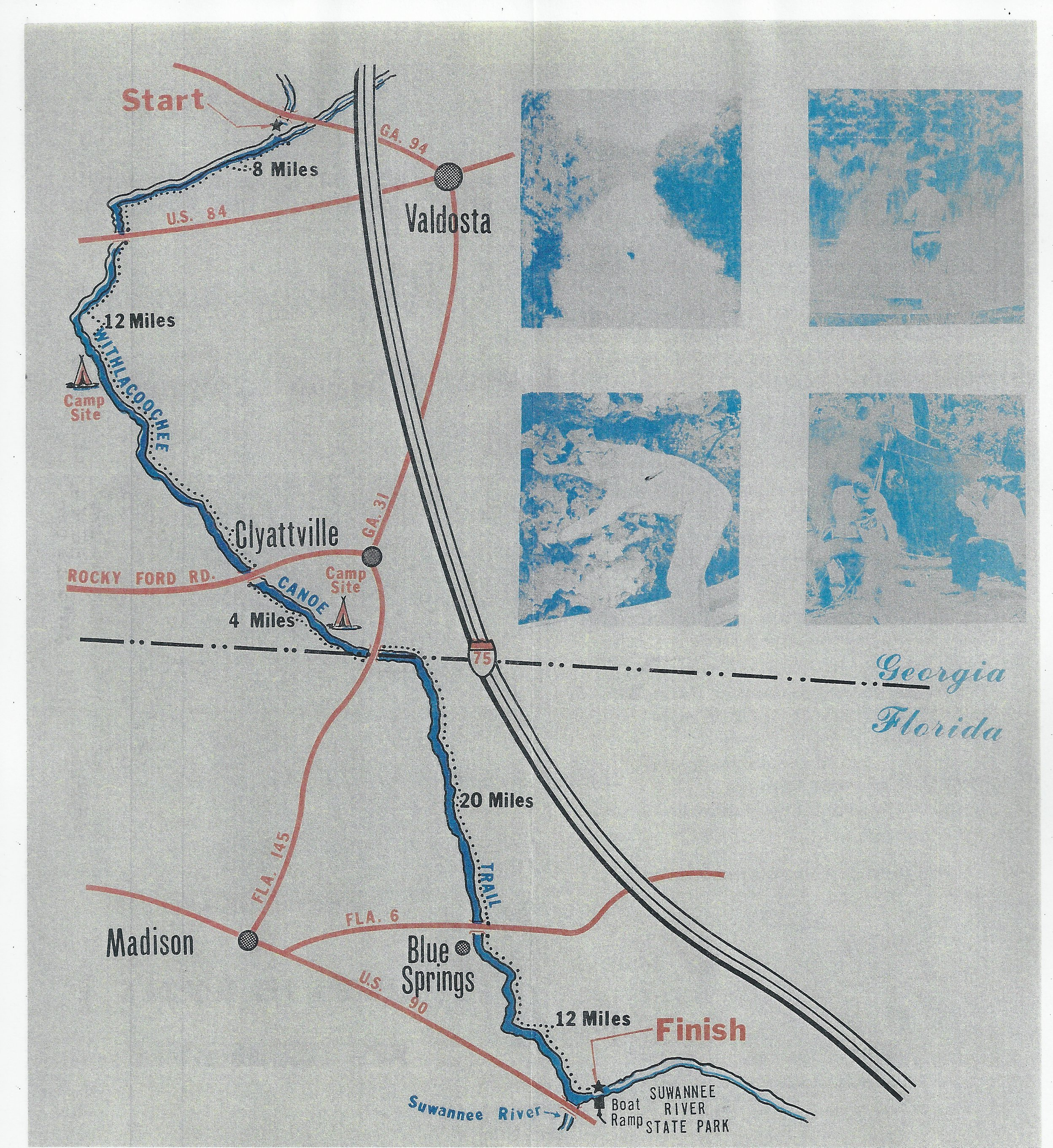 2496x2720 Map, in Canoe Guide to the Withlacoochee River Trail, by John S. Quarterman, for WWALS.net, 0  1979