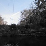 640x480 Saltire over power line, in Statenville to Sasser Landing on the Alapaha River, by John S. Quarterman, for WWALS.net, 15 February 2015