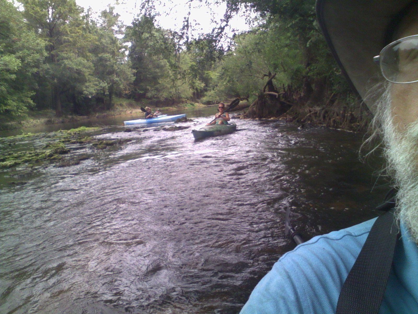 1600x1200 Ashlie tries rapids sideways 30.7954483, -83.4526749, in Sabal Trail @ Withlacoochee @ US 84, by John S. Quarterman, for WWALS.net, 28 August 2015
