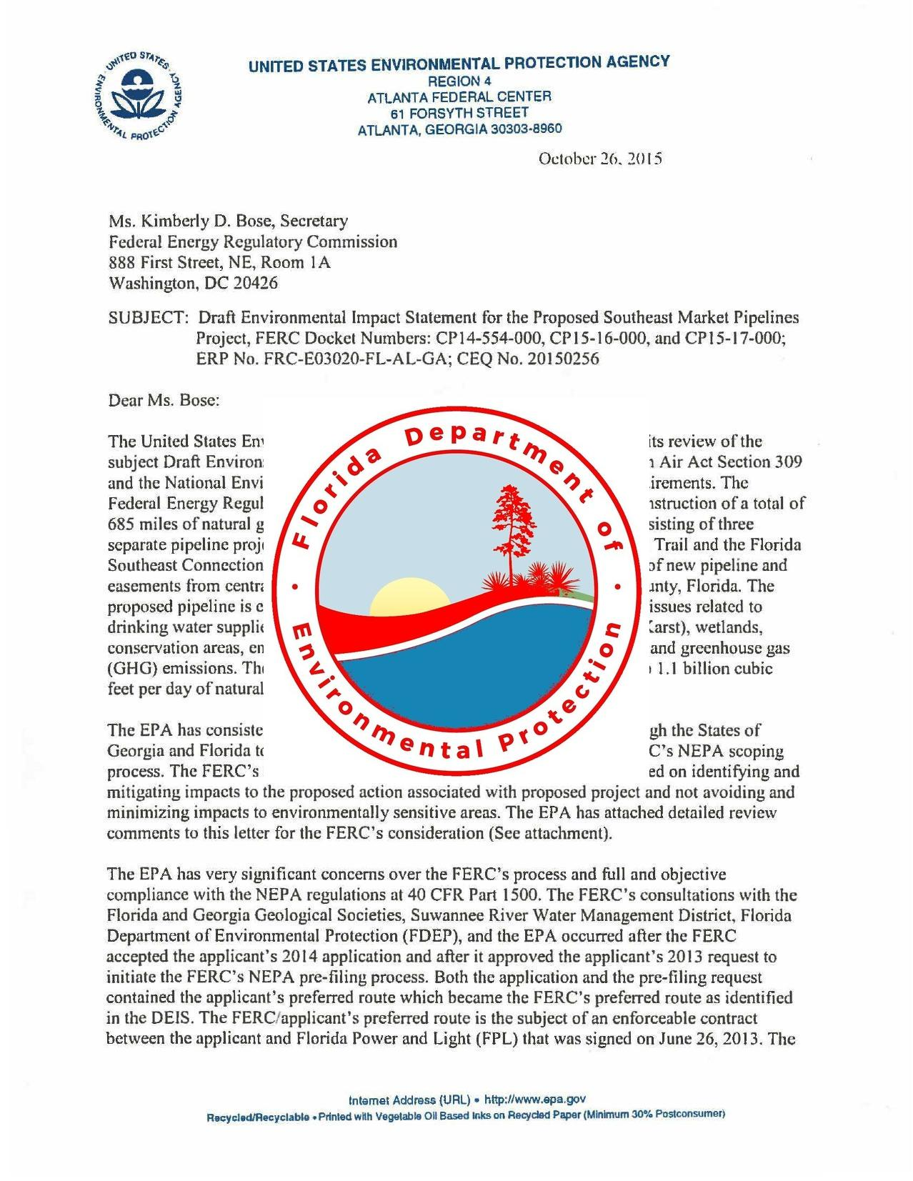 1278x1653 DEP over EPA, in Objections to DEP process and Sabal Trail route through karst limestone of Floridan Aquifer, by EPA, for WWALS.net, 26 October 2015