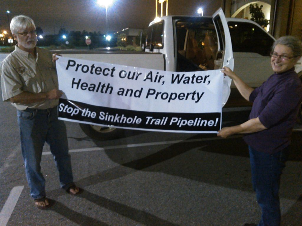 1024x768 Gretchen Quarterman, WWALS Watershed Coalition and Gordon Rogers, Flint Riverkeeper, in Stop the Sinkhole Trail Pipeline, by John S. Quarterman, for WWALS.net, 4 November 2015
