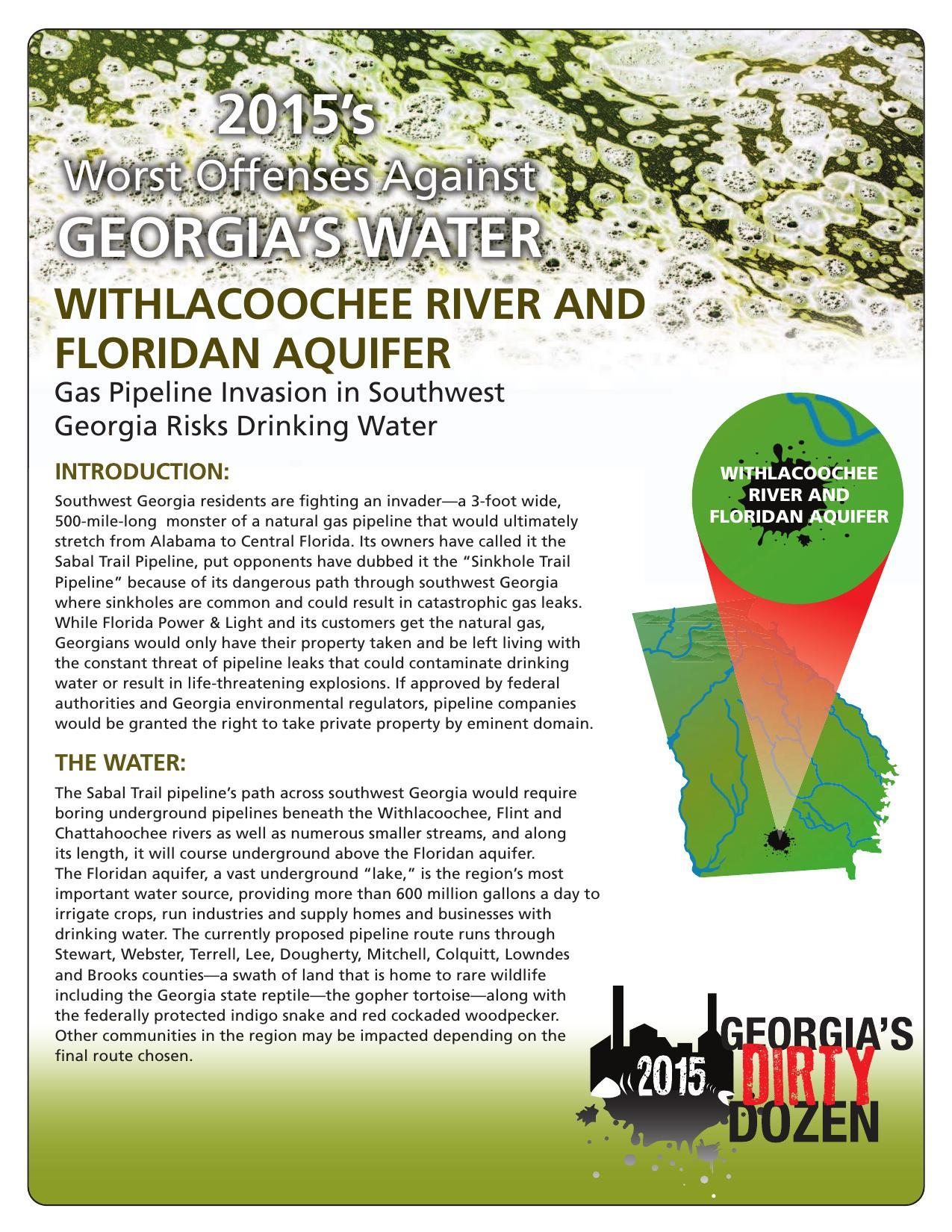 1275x1650 Invading Sabal Trail, Withlacoochee River, in Gas Pipeline Invasion in Southwest Georgia Risks Drinking Water, by Georgia Water Coalition, for WWALS.net, 4 November 2015