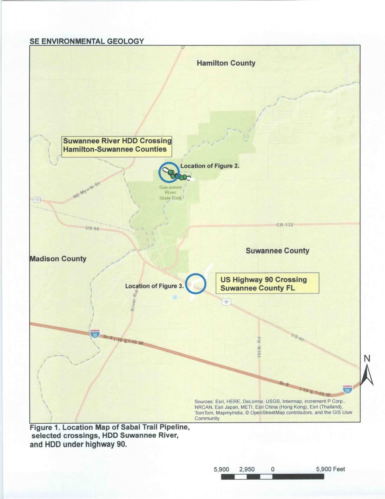 1275x1650 Figure 1. Location Map of Sabal Trail Pipeline, in Geological determinations about Sabal Trail and Suwannee River, by Dennis Price, P.G., for WWALS.net, 25 October 2015