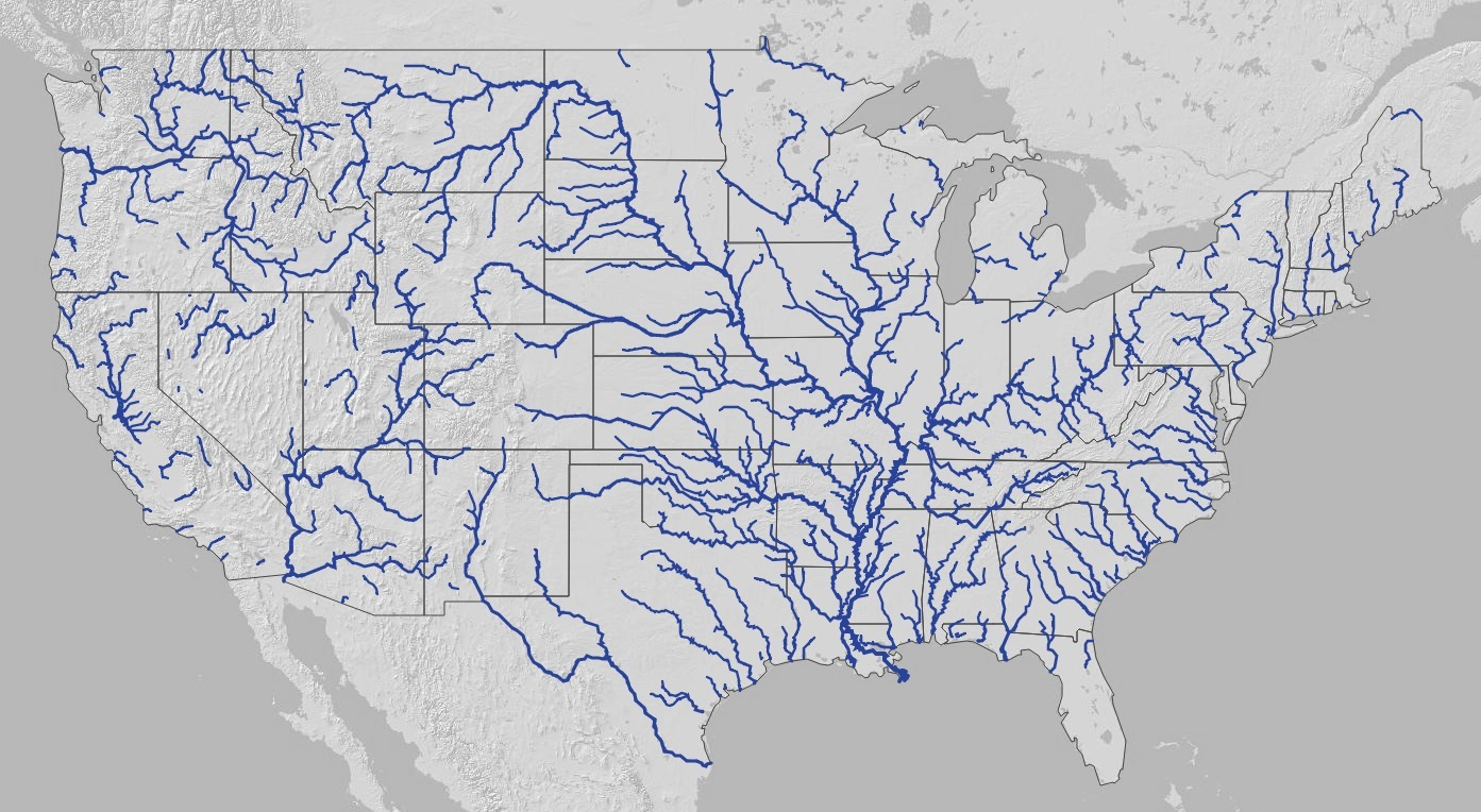 1393×764 Lower 48 U.S., in Map of American Rivers, by Nelson ... on map of american atlas, mother lode, map of american airports, map of american volcanoes, folsom lake, map of american indian reservations, map of american oceans, map of american plateau, james w. marshall, map of american history, kern river, map of american waters, mokelumne river, map of american national parks, map of american roads, sacramento river, tuolumne river, central valley project, san joaquin river, map of american wetlands, old sacramento state historic park, map of american time zones, california gold rush, map of american coastline, map of american islands, map of american farmland, major american rivers, feather river, merced river, map of american states, yuba river, map of american cities, pecos river, sierra nevada, map of american mountains, map of american landmarks, kings river, marshall gold discovery state historic park, sacramento valley,