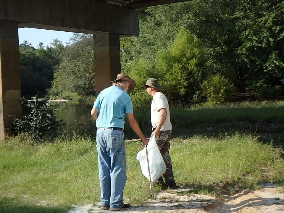 960x720 John S. Quarterman and Chris Mericle under the GA 168 bridge, in WWALS Adopt-A-Stream Cleanup at Berrien Beach Landing (GA 168) --Gretchen Quarterman 2016-09-10, by Gretchen Quarterman, 10 September 2016