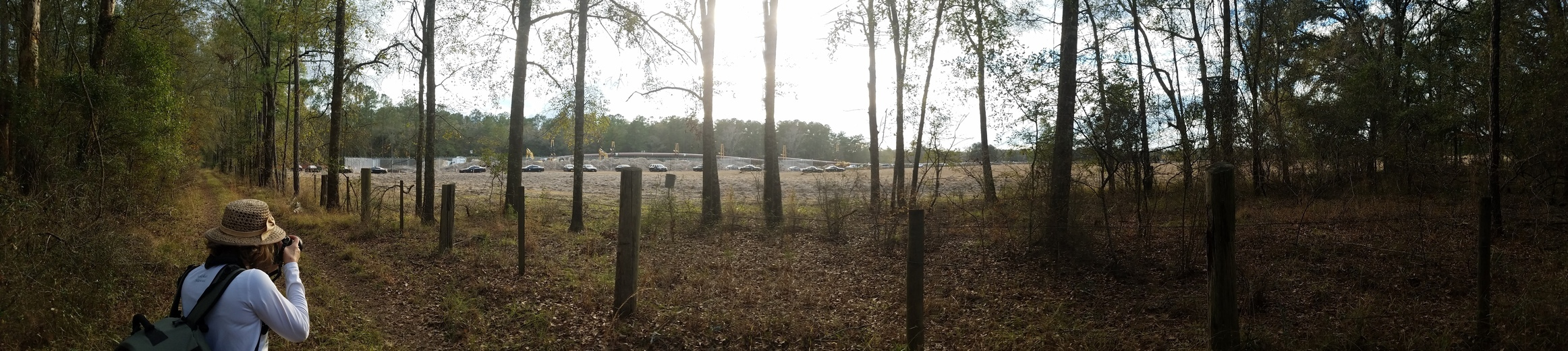 2324x520 Panorama, Sabal Trail pipe going into ground, Hamilton County, 30.4113889, -83.1652778, in Suwannee River Outing and Protest, by John S. Quarterman, for WWALS.net, 14 January 2017