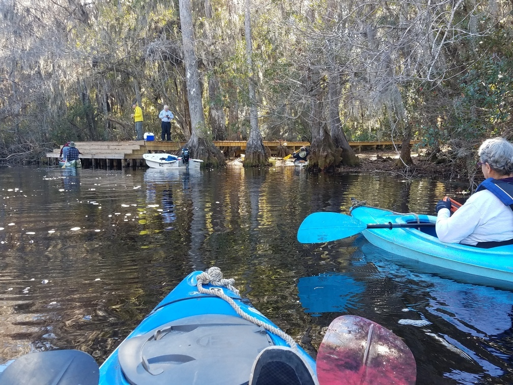 1008x756 Gretchen photographing Bret and Phil on the dock 30.8318809, -82.3336403, in Okefenokee Billys Island Outing, by John S. Quarterman, for WWALS.net, 10 December 2016
