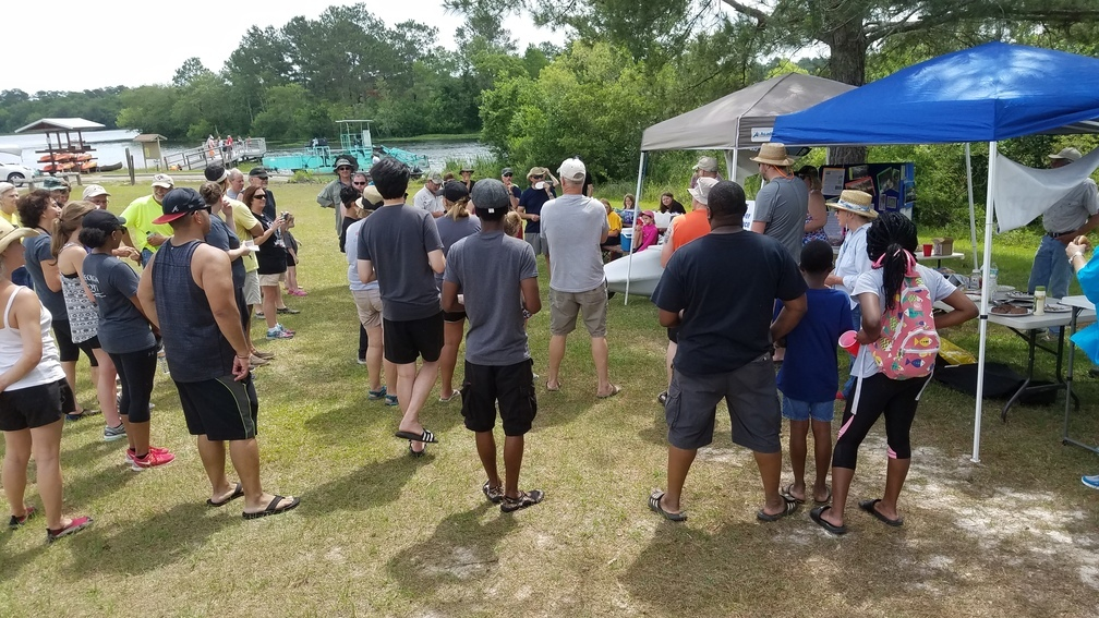 1008x567 Fifty attendees 31.1666823, -83.5471269, in BIG Little River Paddle Race, by John S. Quarterman, for WWALS.net, 29 April 2017