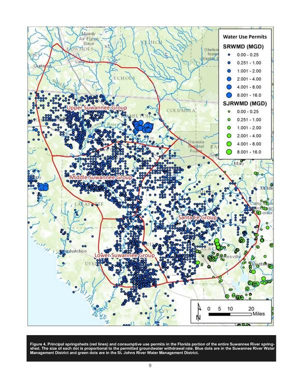 Fig. 4: Principal springsheds (red lines) + consumptive use permits (dots sized by withdrawal rate), Florida portion of Suwannee River springshed.