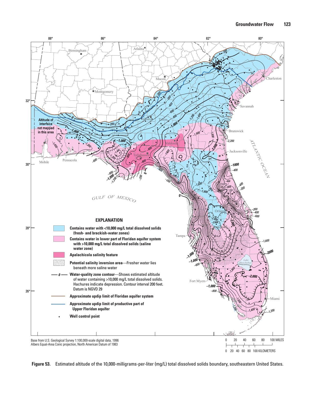 1275x1651 Figure 53. Estimated altitude of the 10,000-milligrams-per-liter (mg/L) total dissolved solids boundary, southeastern United States., in Revised Hydrogeologic Framework of the Floridan Aquifer System, by Lester J. Williams and Eve L. Kuniansky, f