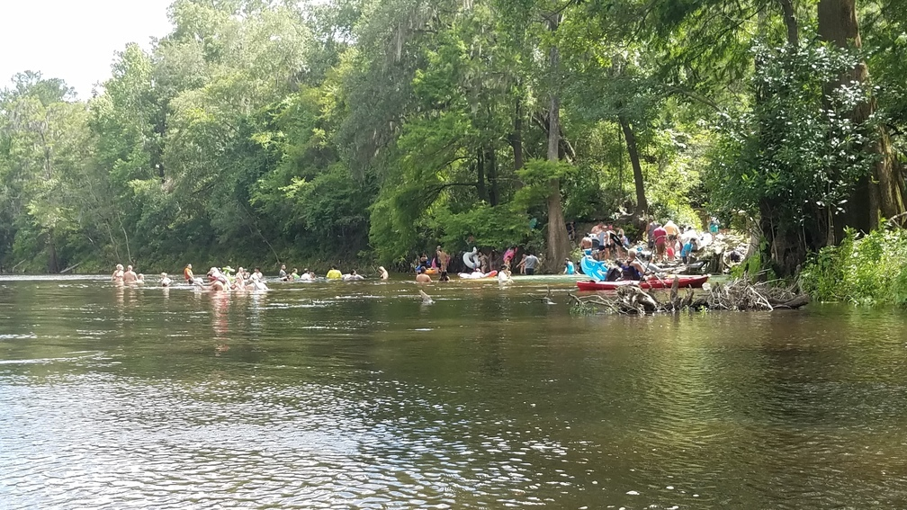 1008x567 Saturday crowd at Madison Blue Spring, 30.48115, -83.24359, in A fine day on the Withlacoochee River from Sullivan Landing to Madison Blue Spring, by John S. Quarterman, for WWALS.net, 24 June 2017