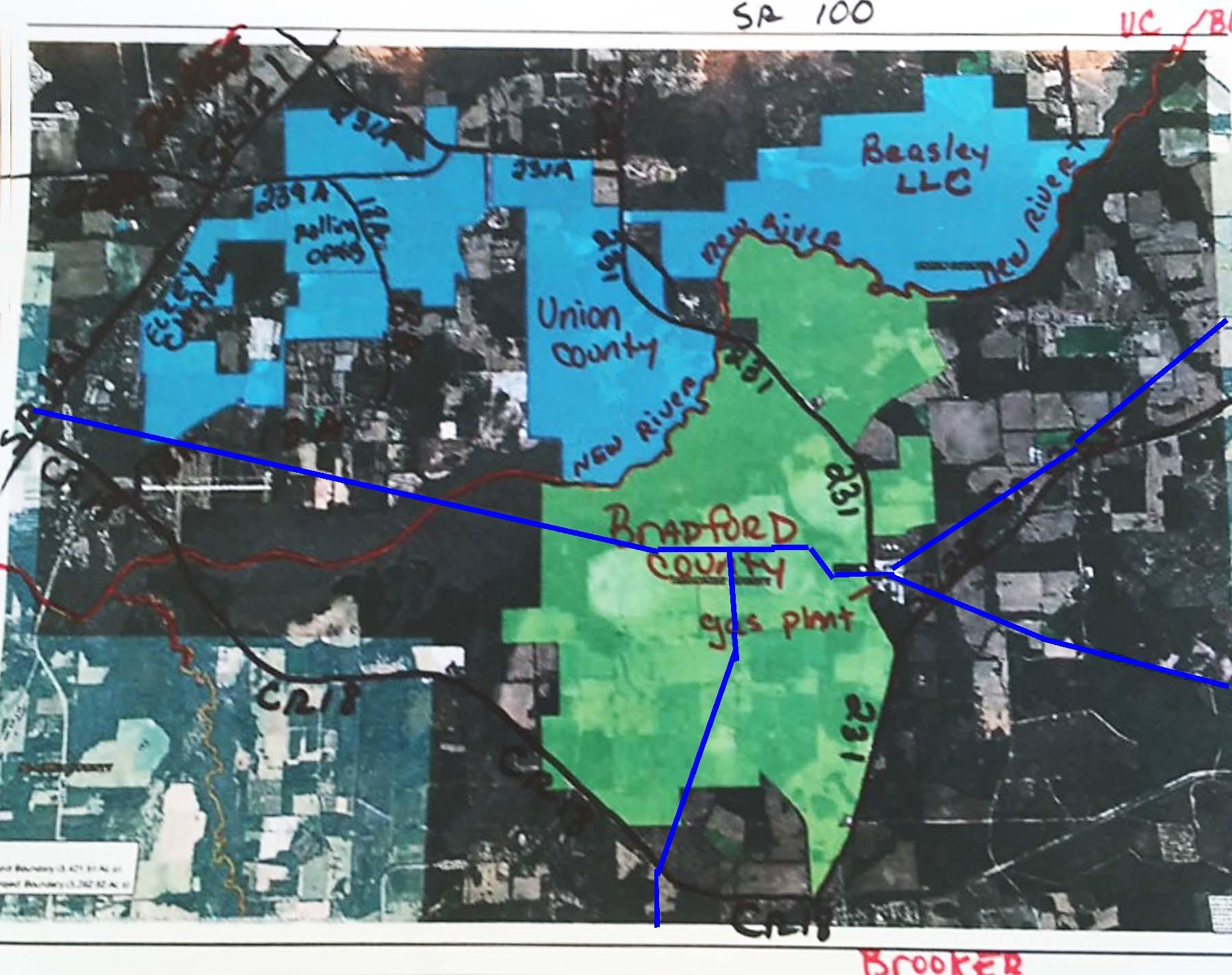1800x1425 FGT drawn on HPS II annotated map, in FGT natural gas pipeline through HPS II site, by John S. Quarterman, for WWALS.net, 26 August 2017