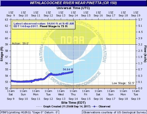 600x465 2017-09-14 Withlacoochee River near Pinetta @ CR 150, in River Gage Projections after Hurricane Irma, by John S. Quarterman, for WWALS.net, 14 October 2017