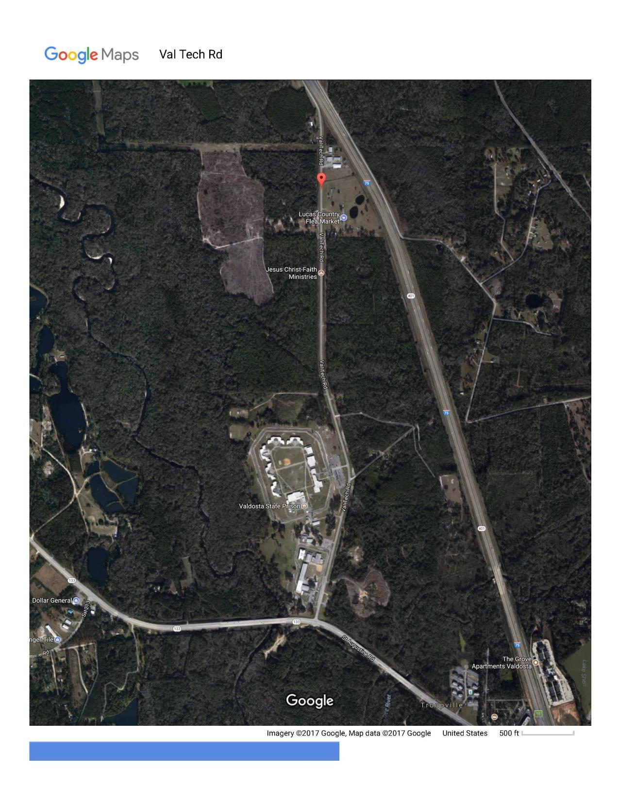 1275x1651 Google Map, Val Tech Road, in Lowndes County Force Main Spill, by John S. Quarterman, for WWALS.net, 23 September 2017