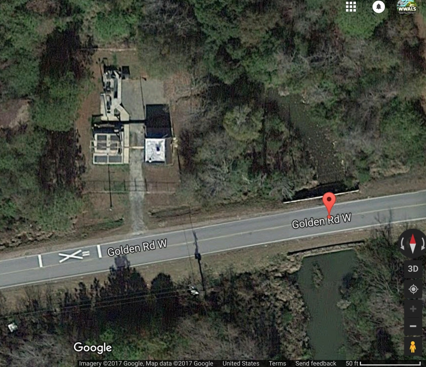 1442x1244 Map View, Golden Road Lift Station, in Cow House Branch Lift Station Spill in Tifton, GA, by John S. Quarterman, for WWALS.net, 11 September 2017