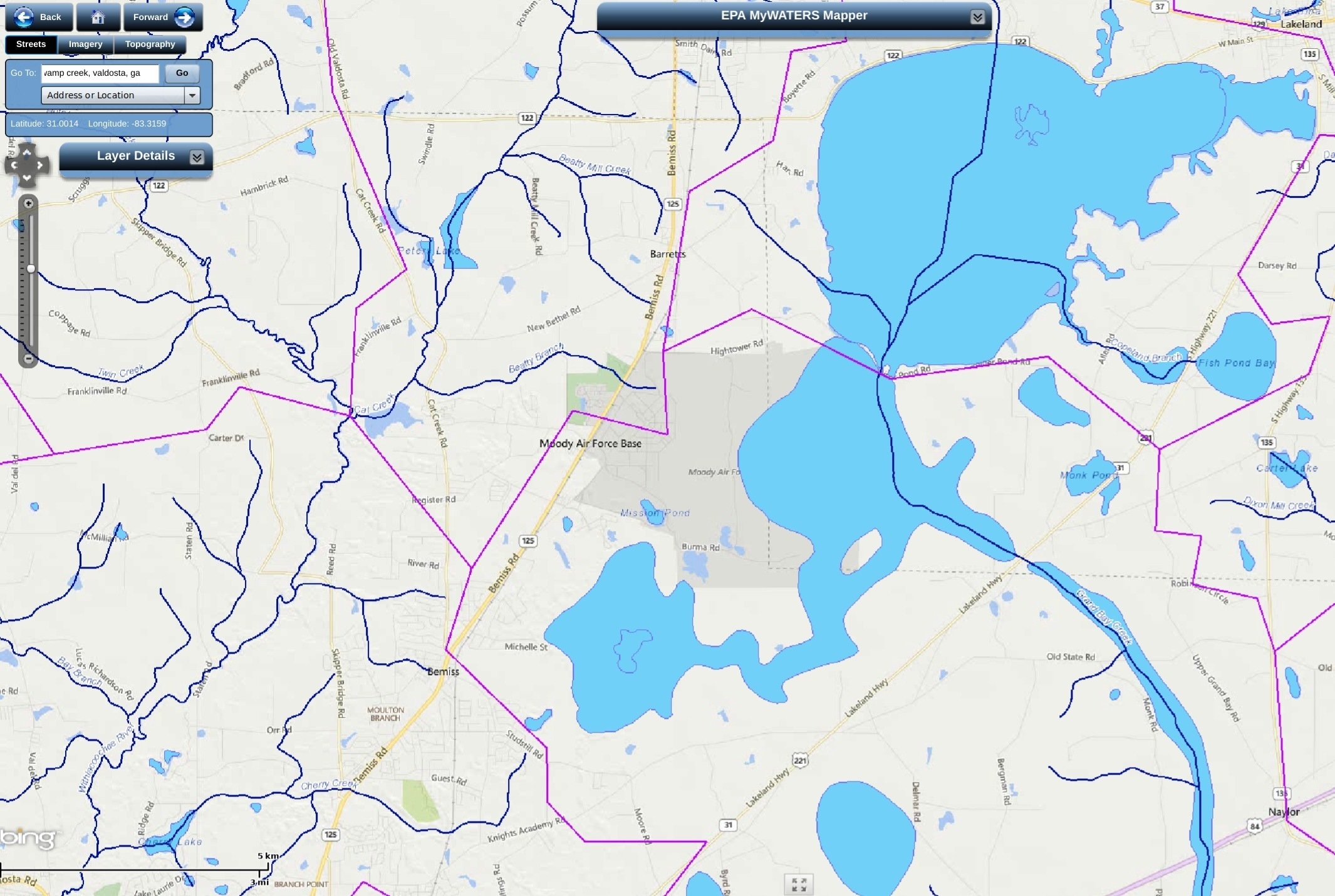 2131x1431 Watershed Divide between Withlacoochee and Alapaha Basins, in Cherry Creek and Grand Bay Creek, by John S. Quarterman, for WWALS.net, 12 September 2017