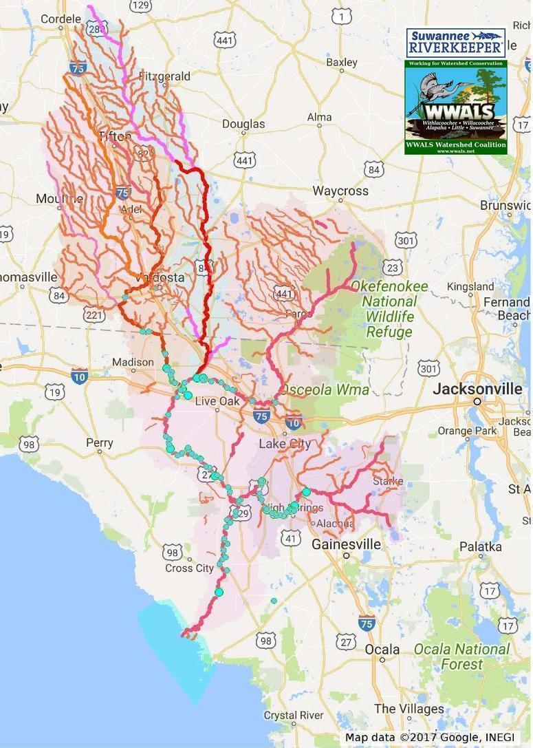 775x1087 Detail, Suwannee River Basin, in Suwannee Maps, by John S. Quarterman, for WWALS.net, 13 November 2017