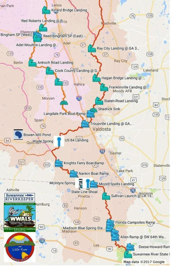 Map of Withlacoochee and Little River Water Trail | WWALS Watershed