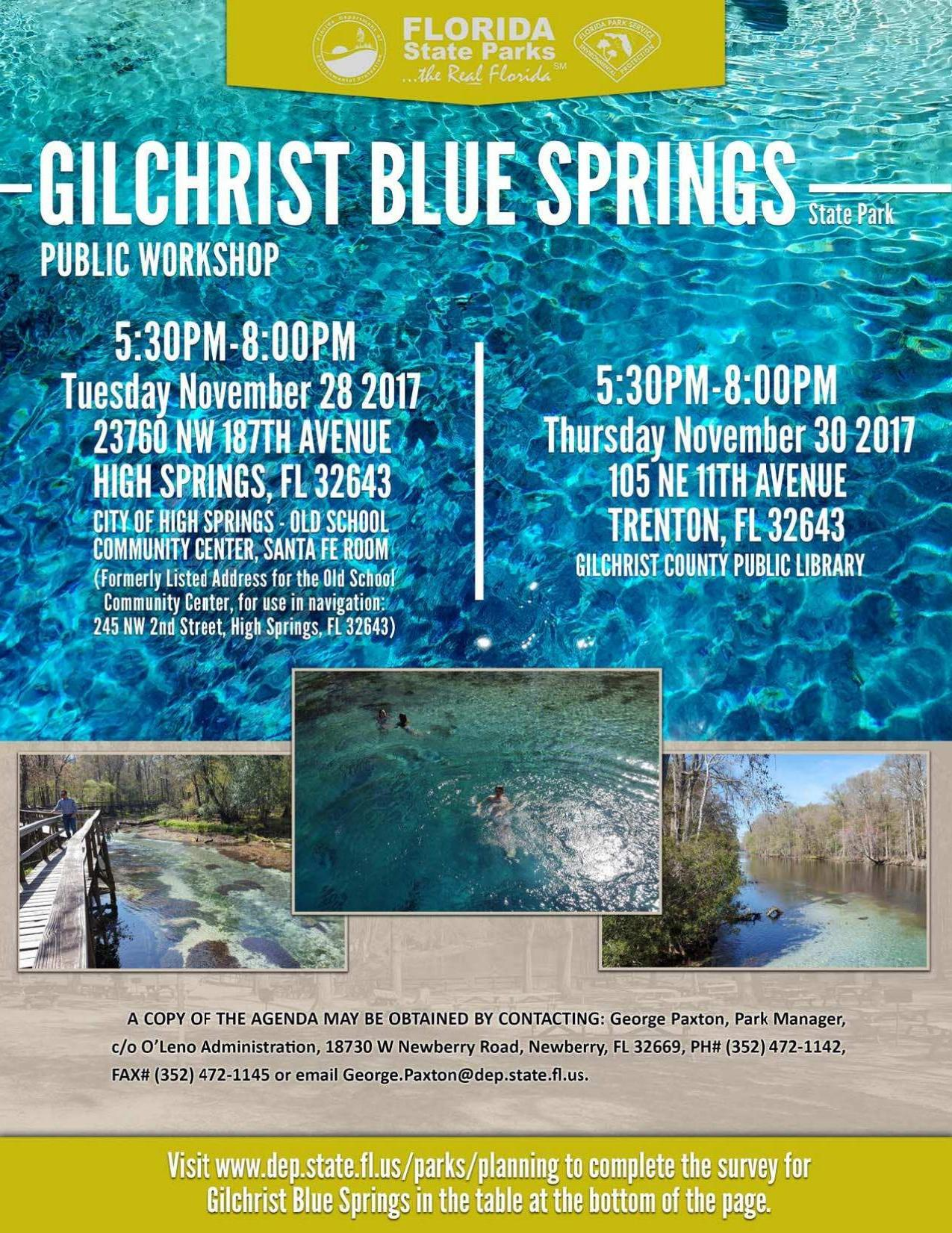 1275x1651 Flyer, FDEP, in Two public meetings about the new Gilchrist Blue Springs State Park, by Florida State Parks, for WWALS.net, 27 November 2017