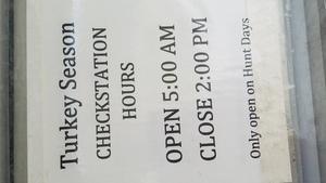 Turkey Season Checkstation Hours, Notices