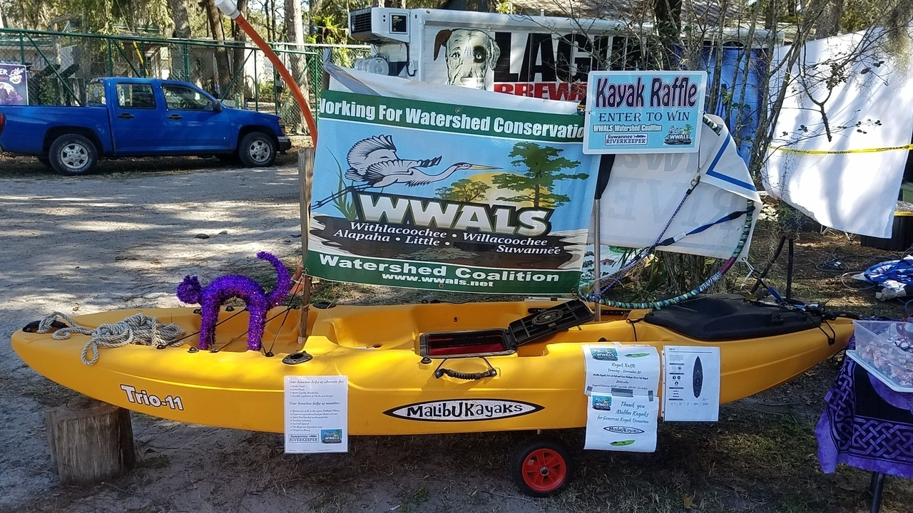 1280x720 Raffle kayak, Hulaween, in Kayak Raffle, by John S. Quarterman, for WWALS.net, 27 October 2017
