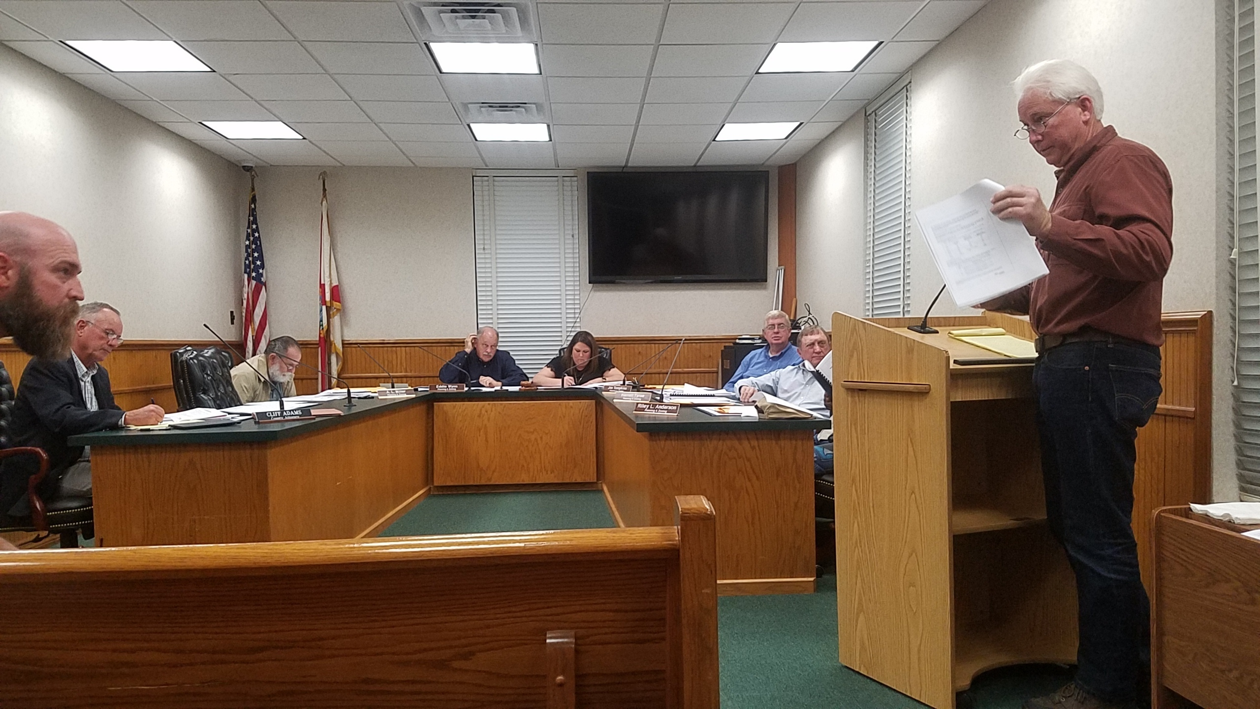 2560x1440 Chris Mericle questions consultant, Public Comment, in PCS Phosphate mine permit Public Hearings, Jasper, FL, by John S. Quarterman, for WWALS.net, 23 January 2018