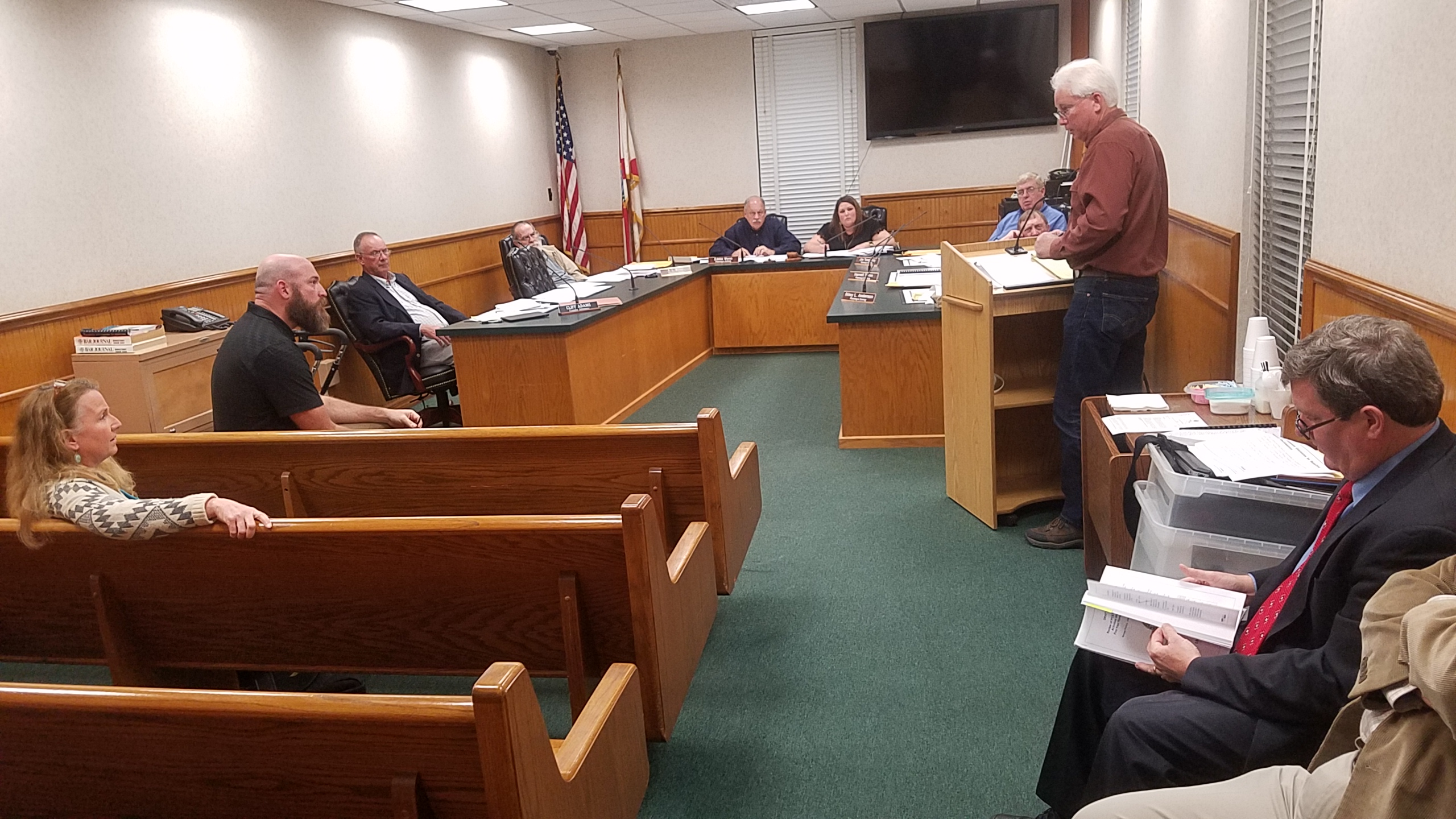 2560x1440 Some of the cast; Cliff Adams took notes throughout, Public Comment, in PCS Phosphate mine permit Public Hearings, Jasper, FL, by John S. Quarterman, for WWALS.net, 23 January 2018