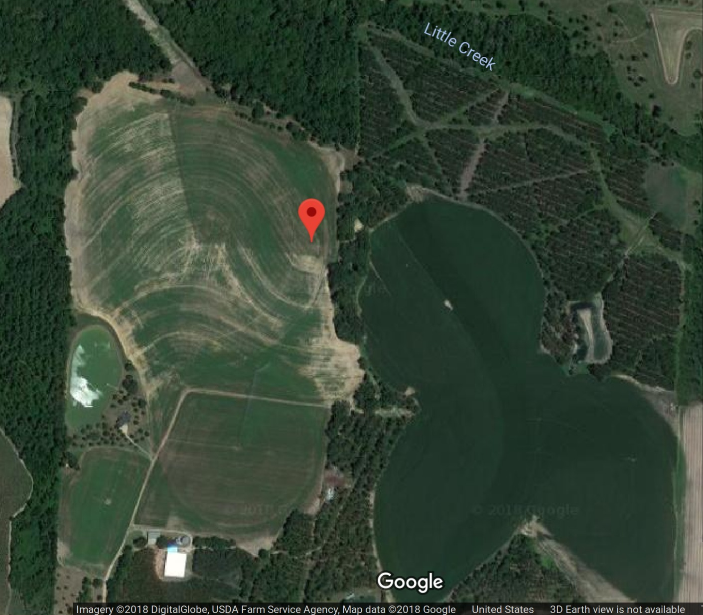 1411x1234 Sabal Trail through Randy Dowdy fields and Little Creek, Google Map, in FERC requires Sabal Trail report mixing of Randy Dowdy's subsoil and topsoil , by FERC, for WWALS.net, 6 February 2018