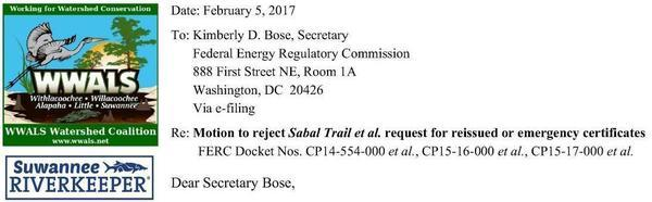 WWALS Motion for FERC to reject Sabal Trail et al. request for reissued or emergency certificates, Filing