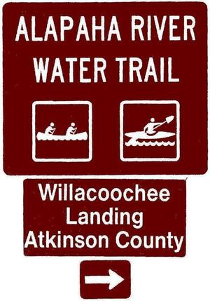 300x429 Willacoochee Landing, Atkinson County, Right, Posts, in Road signs for Alapaha River Water Trail, by John S. Quarterman, for WWALS.net, 26 February 2018