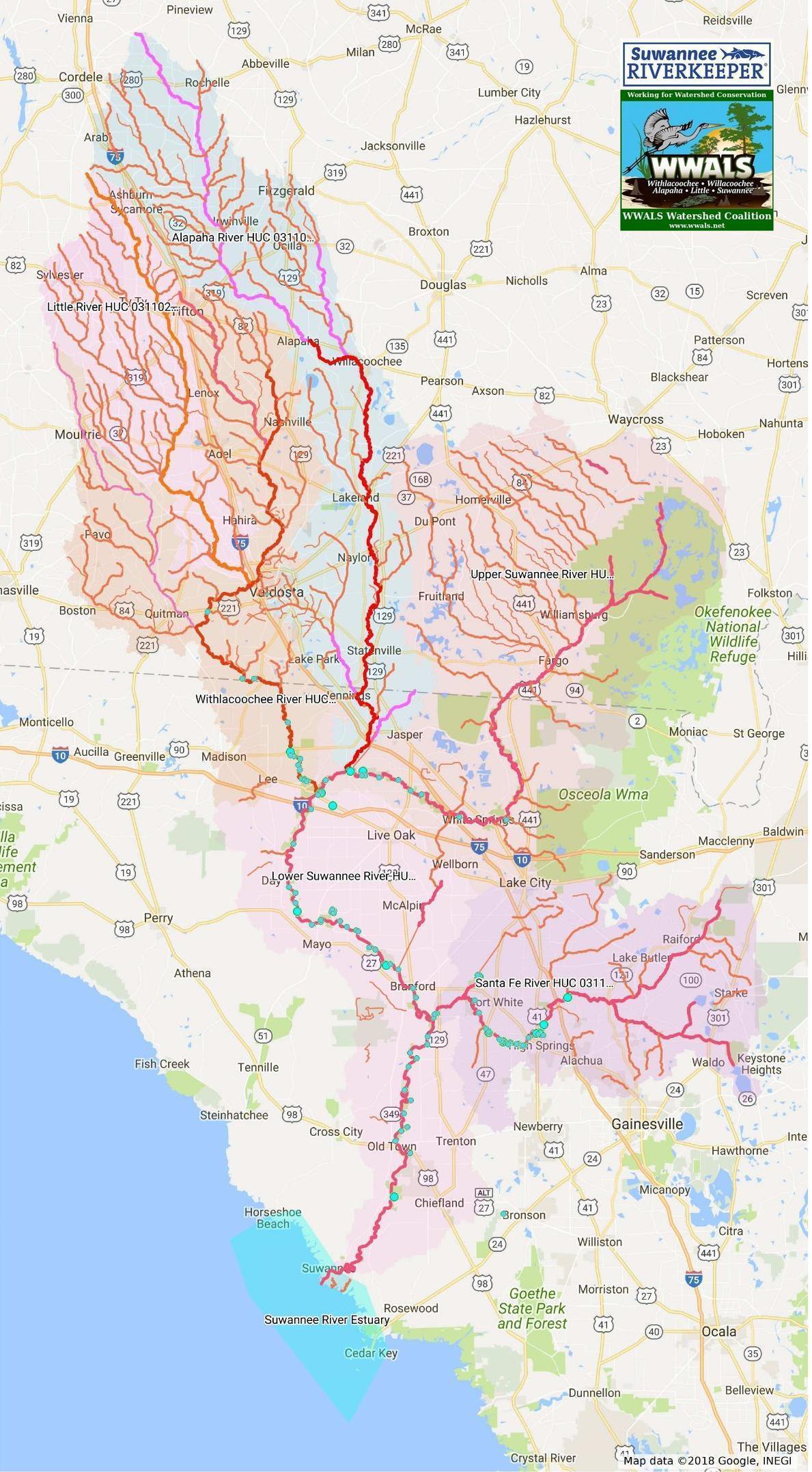 1189x2154 Basins Labeled, Basin, in Suwannee Maps, by John S. Quarterman, for WWALS.net, 13 November 2017