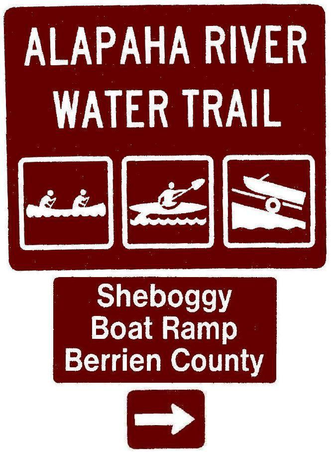 665x907 Sheboggy Boat Ramp, Berrien County, Right, Posts, in Road signs for Alapaha River Water Trail, by John S. Quarterman, for WWALS.net, 26 February 2018