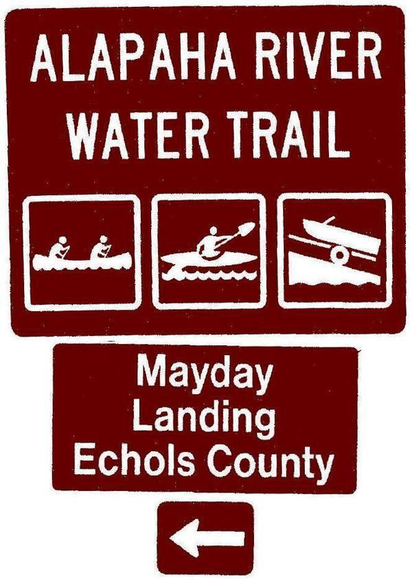 600x843 Mayday Landing, Echols County, Left, Posts, in Road signs for Alapaha River Water Trail, by John S. Quarterman, for WWALS.net, 26 February 2018
