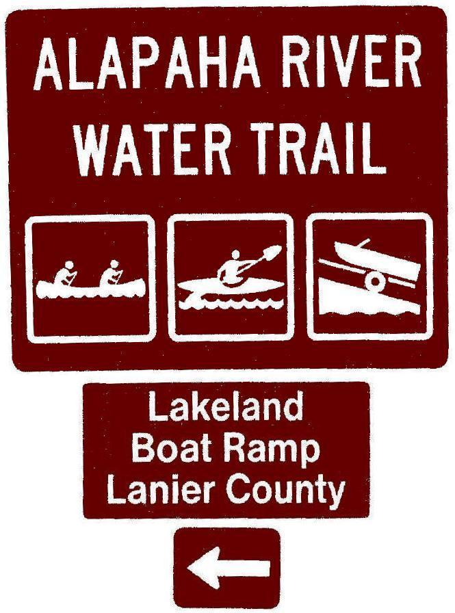 665x896 Lakeland Boat Ramp, Lanier County, Left, Posts, in Road signs for Alapaha River Water Trail, by John S. Quarterman, for WWALS.net, 26 February 2018