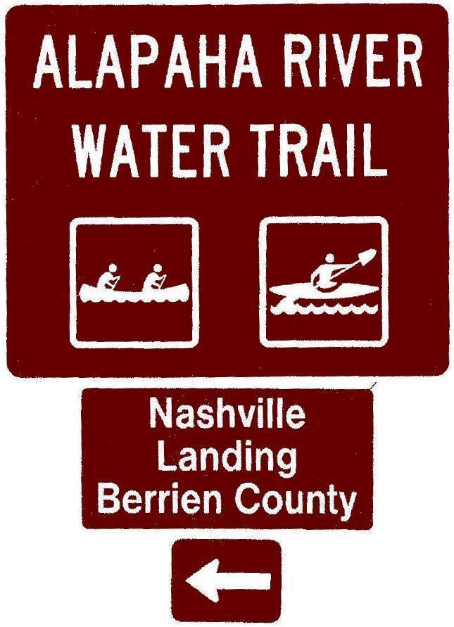 645x891 Nashville Landing, Berrien County, Left, Posts, in Road signs for Alapaha River Water Trail, by John S. Quarterman, for WWALS.net, 26 February 2018
