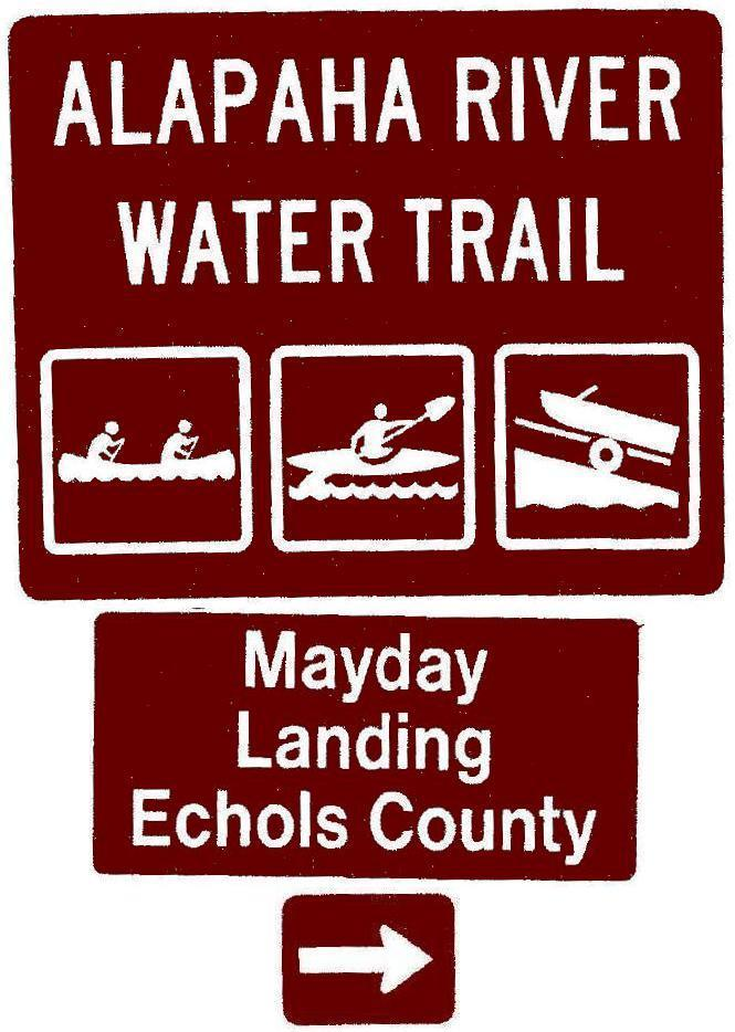 665x934 Mayday Landing, Echols County, Right, Posts, in Road signs for Alapaha River Water Trail, by John S. Quarterman, for WWALS.net, 26 February 2018
