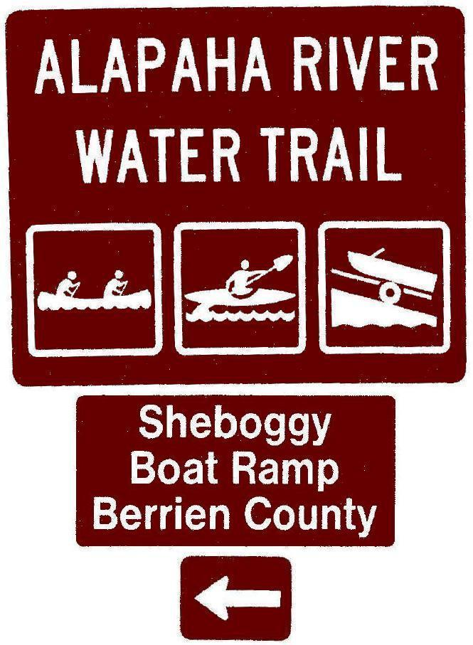 665x907 Sheboggy Boat Ramp, Berrien County, Left, Posts, in Road signs for Alapaha River Water Trail, by John S. Quarterman, for WWALS.net, 26 February 2018