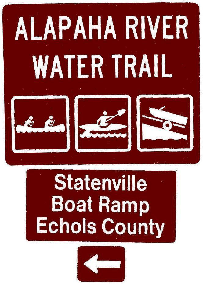 665x933 Statenville Boat Ramp, Echols County, Left, Posts, in Road signs for Alapaha River Water Trail, by John S. Quarterman, for WWALS.net, 26 February 2018