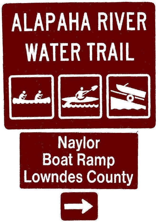 665x932 Naylor Boat Ramp, Lowndes County, Right, Posts, in Road signs for Alapaha River Water Trail, by John S. Quarterman, for WWALS.net, 26 February 2018