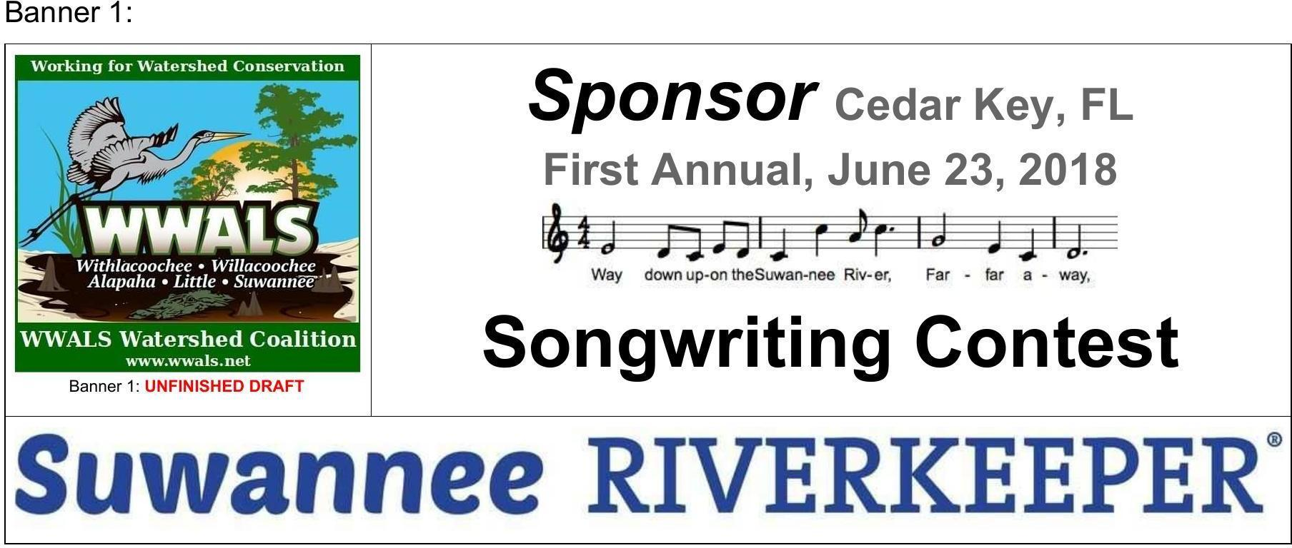 1808x768 Banner 1: music and long SuwRK banner, Draft Banners, in Draft sponsor banners: Suwannee Riverkeeper Songwriting Contest, by John S. Quarterman, for WWALS.net, 26 February 2018